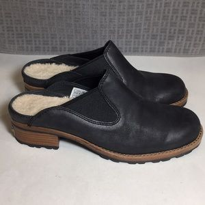 UGG Parker Black Leather Mules Women's Size 8